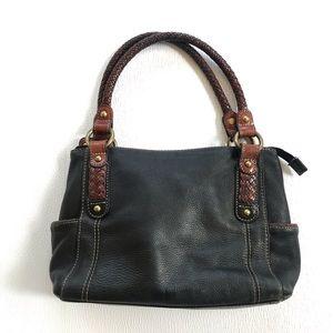 Fossil Black Leather Satchel Bag